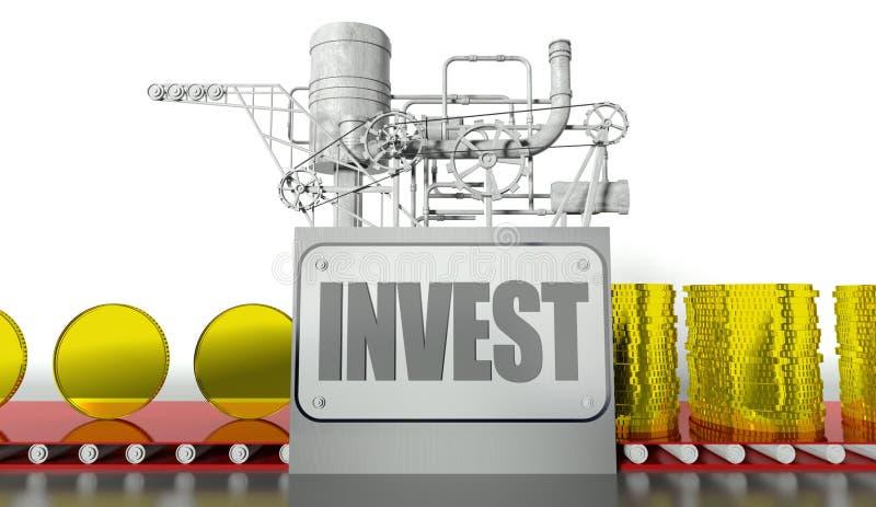 Investeringbegrepp med pengarmaskinen royaltyfri illustrationer