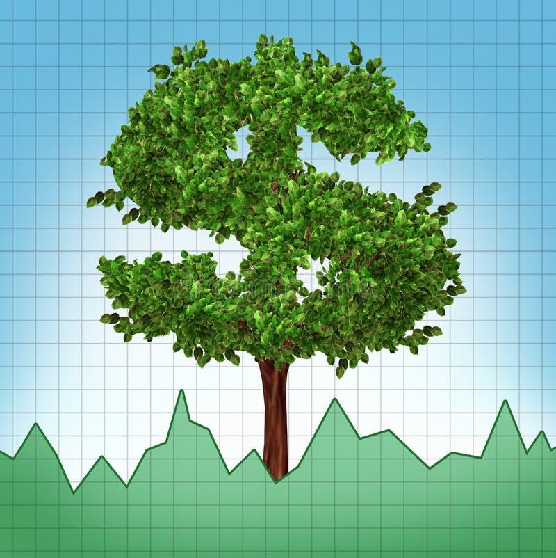 investeringen för diagramtillväxtindexet stocks treen uppåt royaltyfri illustrationer