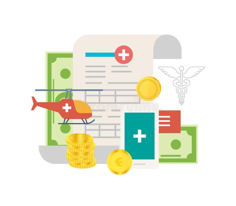 Investeringen in moderne geneeskunde en gezondheidszorg stock illustratie