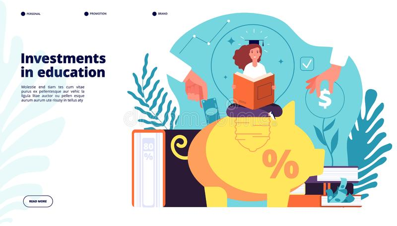 Investeringen in onderwijs Investeringen in leerling kennis, onderwijskundige kredietbeurs, financiële zaken stock illustratie
