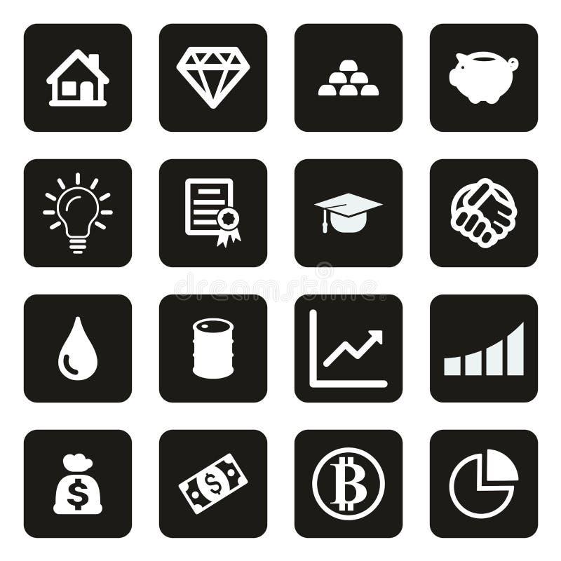 Investeringsplansymboler som är vita på svart royaltyfri illustrationer