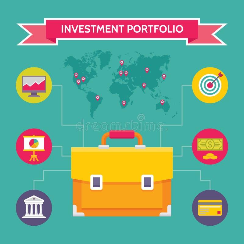Investeringsportfölj - affärsidéillustration i plan designstil vektor illustrationer