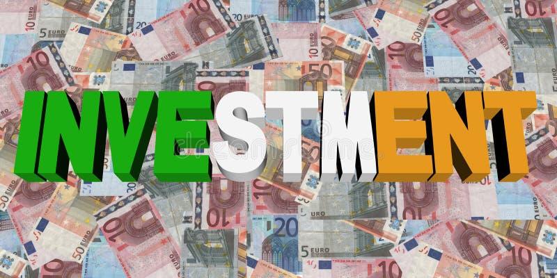 Investeringstekst met Ierse vlag op Euroillustratie stock illustratie
