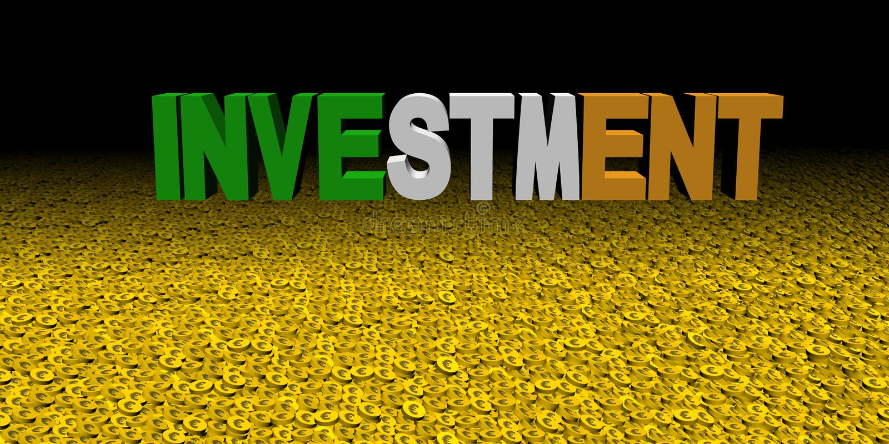 Investeringstekst met Ierse vlag op muntstukkenillustratie vector illustratie