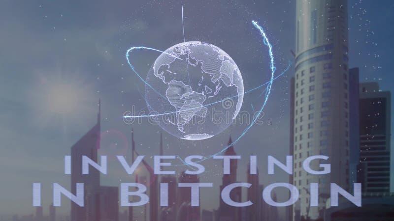 Investierung im Bitcoin-Bargeldtext mit Hologramm 3d der Planet Erde gegen den Hintergrund der modernen Metropole lizenzfreie abbildung