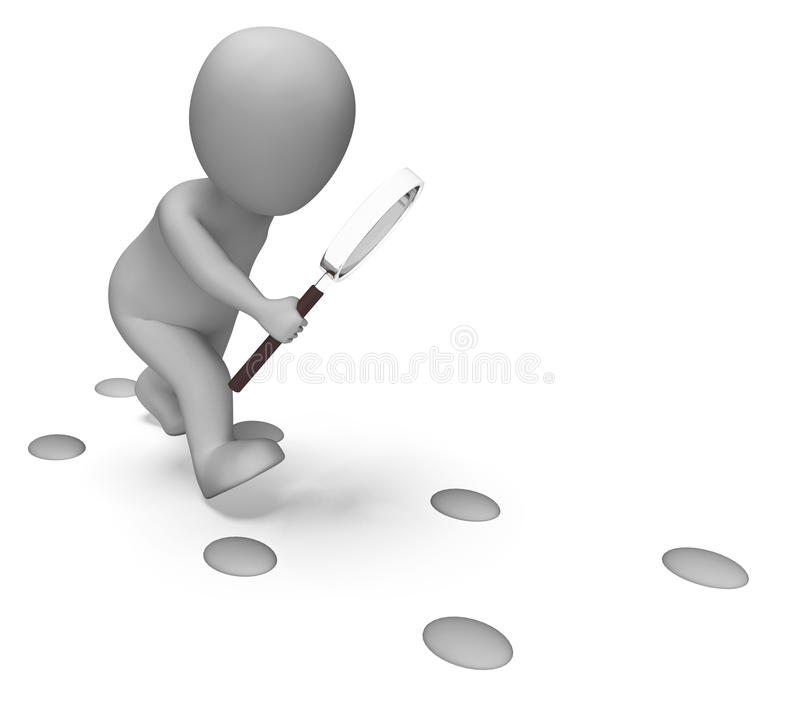 Investigação do achado das mostras de Character Examine Footprints do detetive ilustração stock