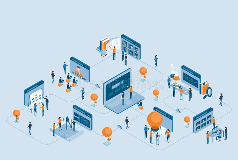 Investigação empresarial isométrica do projeto e educação em linha ilustração stock