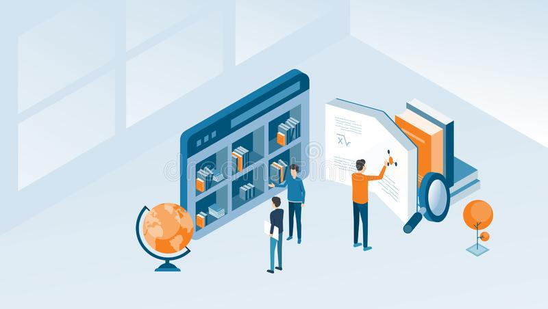Investigação empresarial isométrica do projeto e educação em linha ilustração do vetor