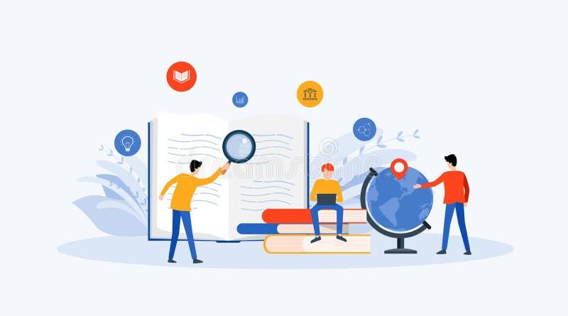 Investigação empresarial lisa da tecnologia da ilustração do vetor, aprendizagem e conceito em linha da educação ilustração royalty free