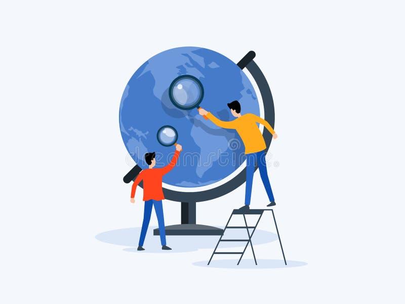 Investigação empresarial lisa da tecnologia da ilustração do vetor, aprendizagem e conceito em linha da educação ilustração stock