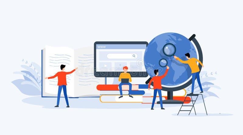 Investigação empresarial lisa da tecnologia da ilustração do vetor, aprendizagem e conceito em linha da educação ilustração do vetor