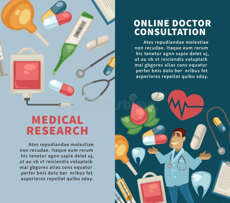 Investigação médica e comprimidos e seringa em linha da consulta do doutor ilustração do vetor