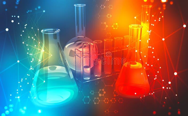 Investigação médica microbiology Estudo da estrutura química das pilhas ilustração royalty free