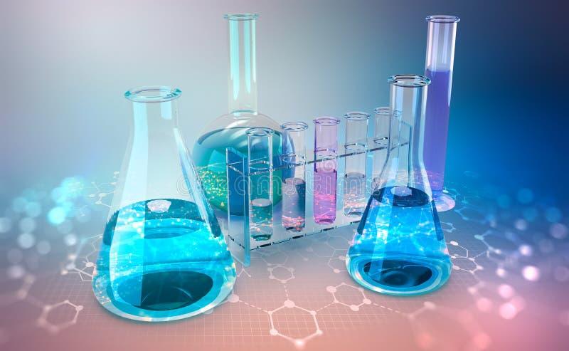 Investigação médica microbiology Estudo da estrutura química das pilhas ilustração stock