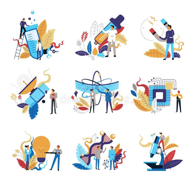 Investigações e desenvolvimento da medicina, experiências da ciência dos cientistas ilustração stock