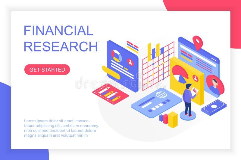 Investigación de gestión financiera, solución del negocio, ejemplo isométrico del vector del análisis de inversión de las finanza libre illustration