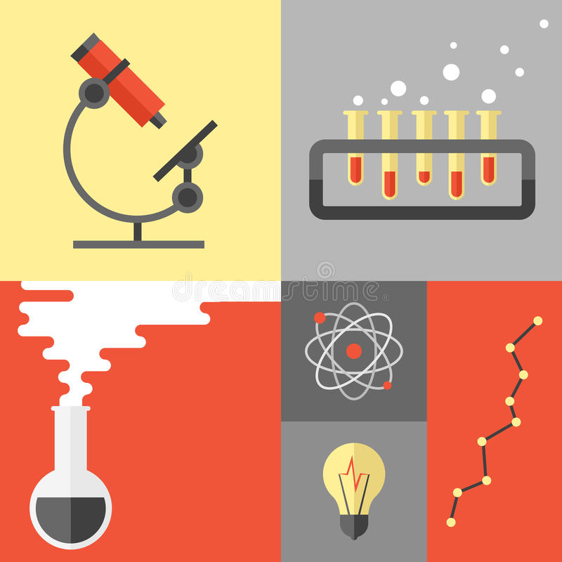 Investigación de la ciencia y ejemplo plano de la química stock de ilustración