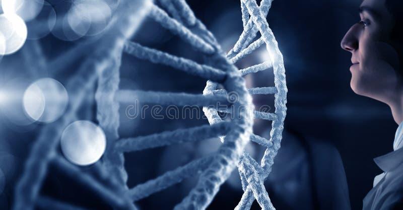 Investigación de la molécula de la DNA imagen de archivo