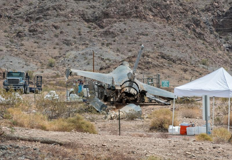 Investigación de un lugar del accidente de los aviones F-16 fotos de archivo libres de regalías