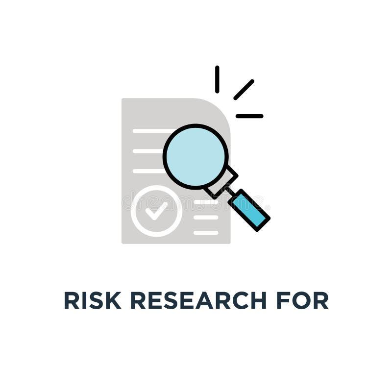 investigación del riesgo para el icono del control de la auditoría, símbolo de la búsqueda del fraude del interventor y estudio d ilustración del vector