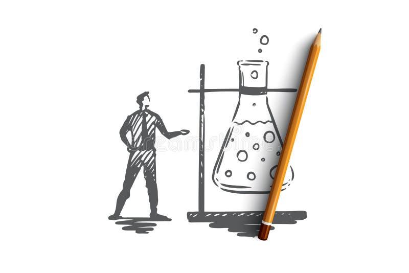 Investigación, vidrio, médico, científico, concepto del laboratorio Vector aislado dibujado mano stock de ilustración