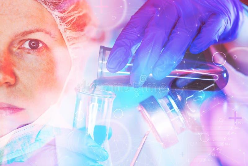 Investigador de la ciencia de la farmacología que trabaja en laboratorio fotos de archivo