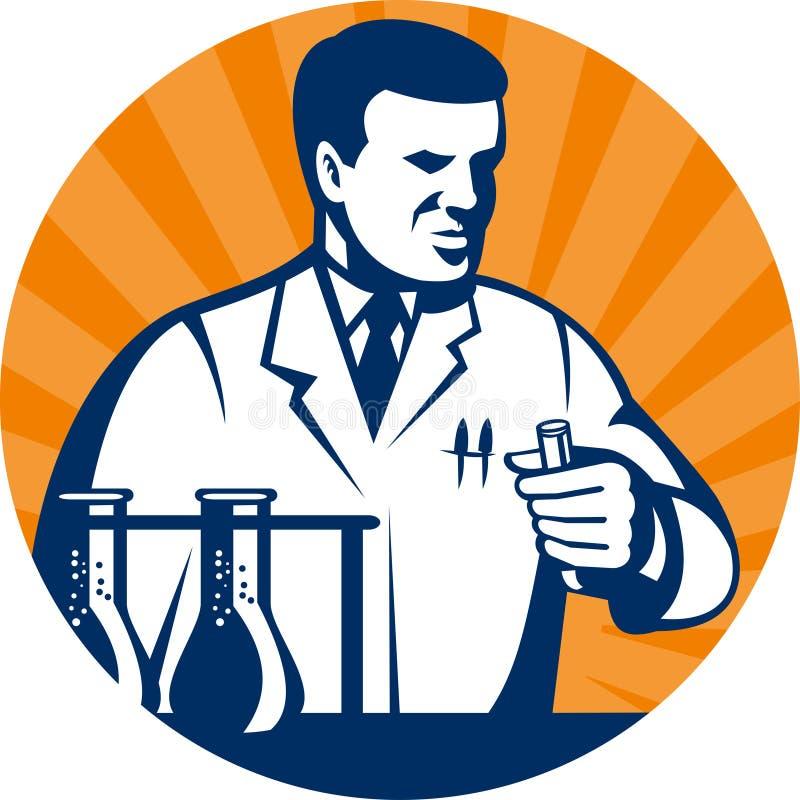 Investigador del científico del laboratorio ilustración del vector