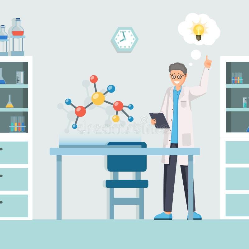 Investigador que tiene ejemplo del vector de la idea Científico de la historieta, químico creativo que modela fórmula química inn libre illustration