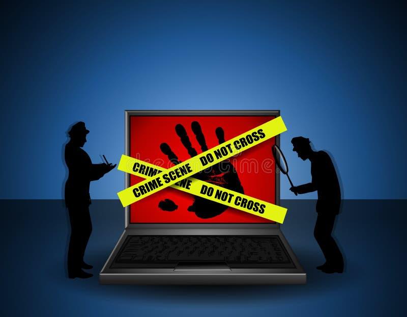 Investigadores de la escena del crimen del Internet ilustración del vector