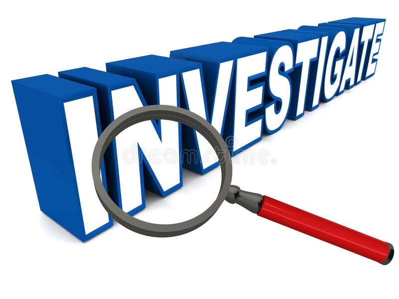 Investigate. Word with magnifying glass, text in blue, lens with red handle, white background, investigation and fact finding concept royalty free illustration