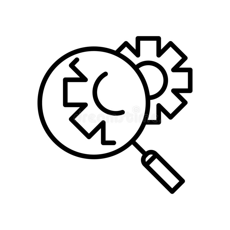Investigate icon vector isolated on white background, Investigate sign , line or linear sign, element design in outline style stock illustration