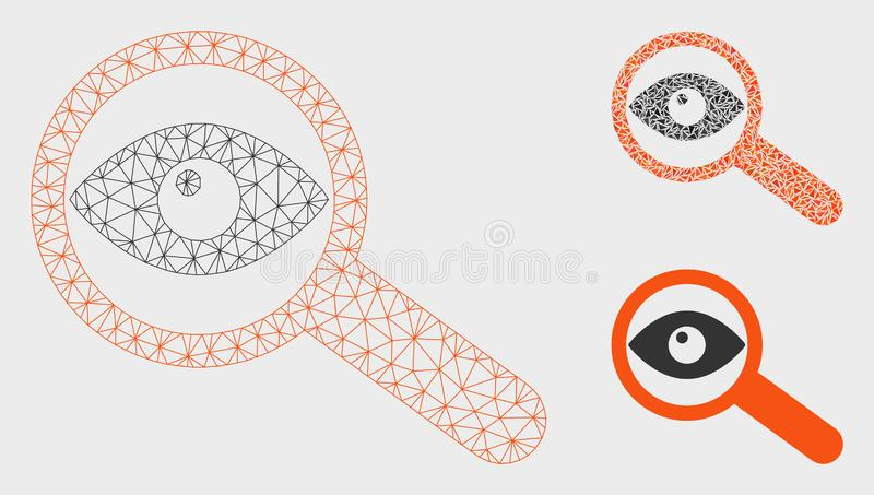 Investigate Vector Mesh 2D Model and Triangle Mosaic Icon royalty free illustration