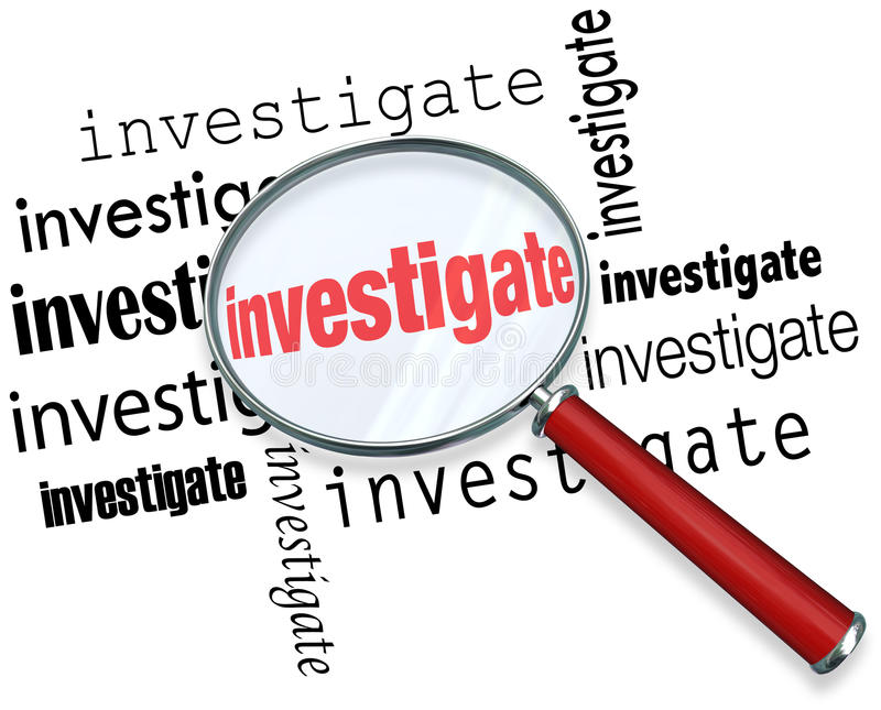 Investigate Word Magnifying Glass Close Inspection Facts. Magnfiying glass on the word investigate to illustrate detective or police work researching facts in a vector illustration