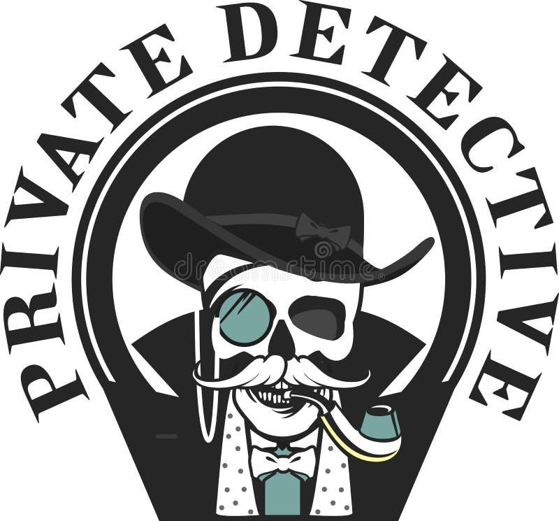Investigateur privé Skull illustration stock