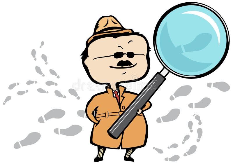 Investigateur révélateur/privé, loupe illustration de vecteur