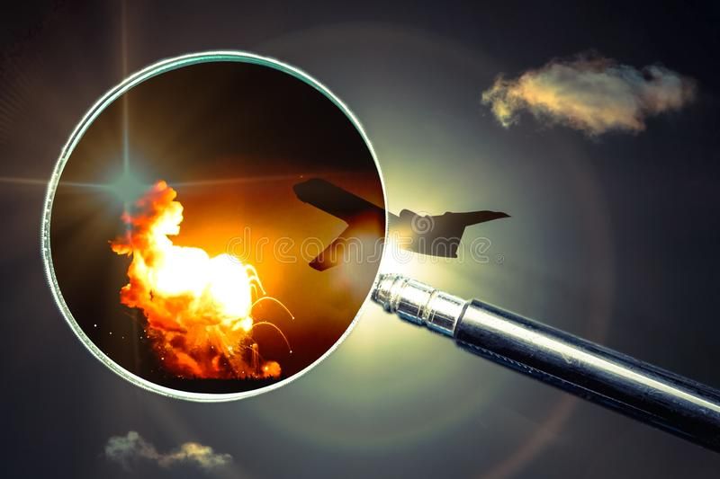 Investigation of the causes of the crash. Ð¡ollage of a flying plane and a magnifying glass with an approximate crash site and an explosion fire. Elements of stock photography
