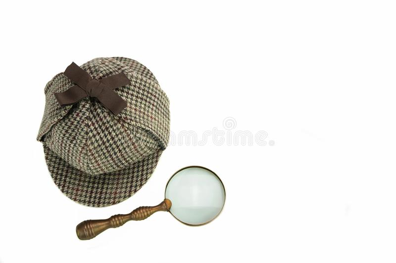 Investigation Concept With Sherlock Holmes Hat Famous As Deers. Talker Isolated On White Background royalty free stock photos