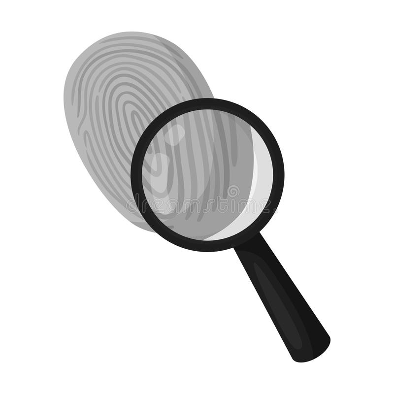 Investigation by fingerprint magnifier, crime. Loupe is a detective tool, single icon in monochrome style vector symbol royalty free illustration