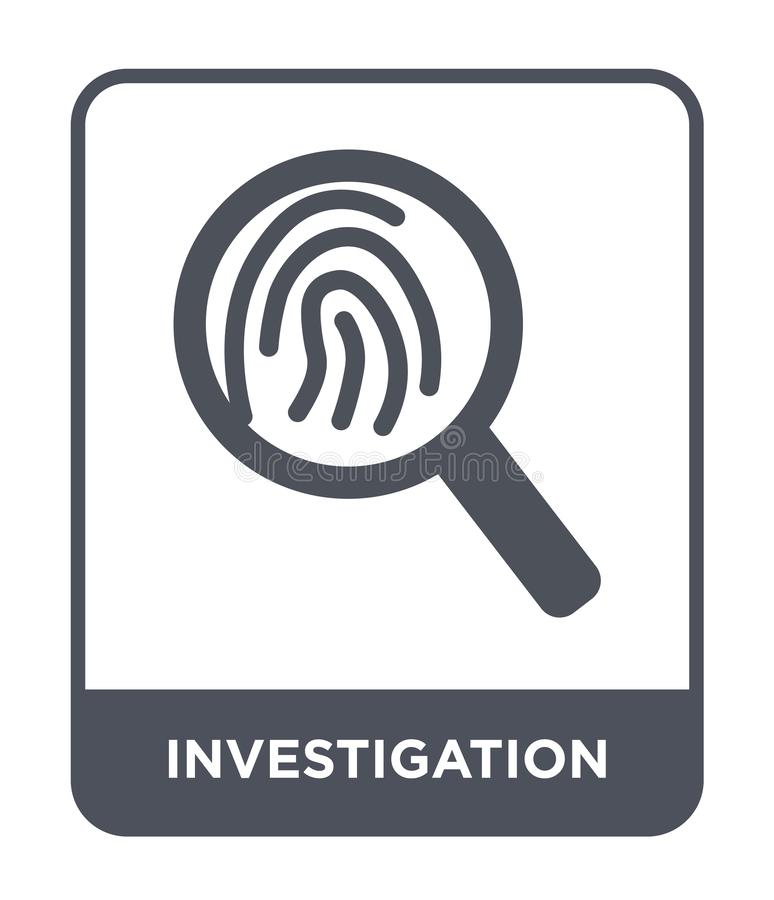 Investigation icon in trendy design style. investigation icon isolated on white background. investigation vector icon simple and. Modern flat symbol for web royalty free illustration