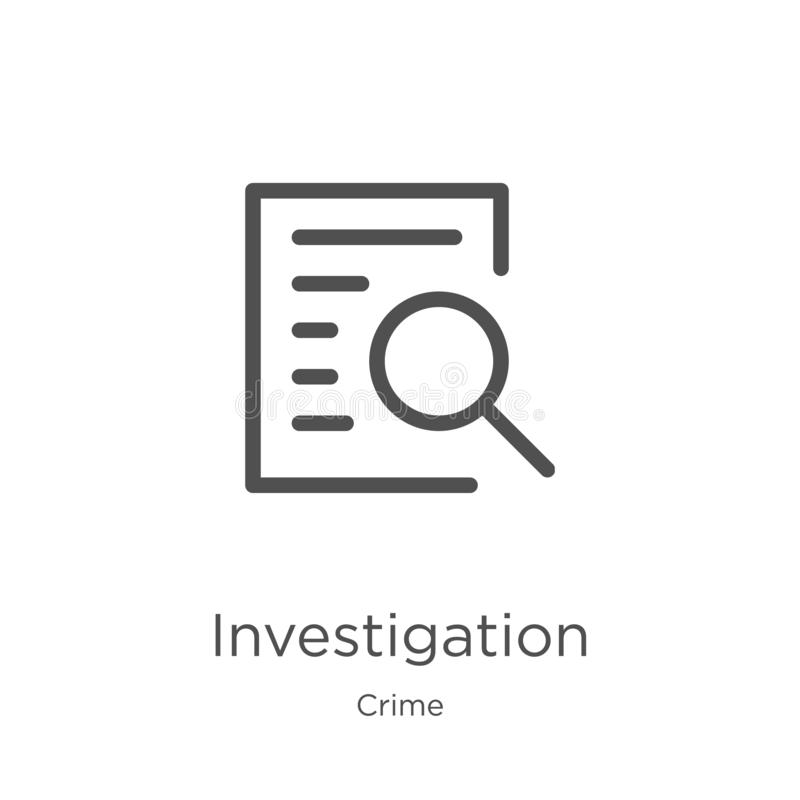 investigation icon vector from crime collection. Thin line investigation outline icon vector illustration. Outline, thin line stock illustration