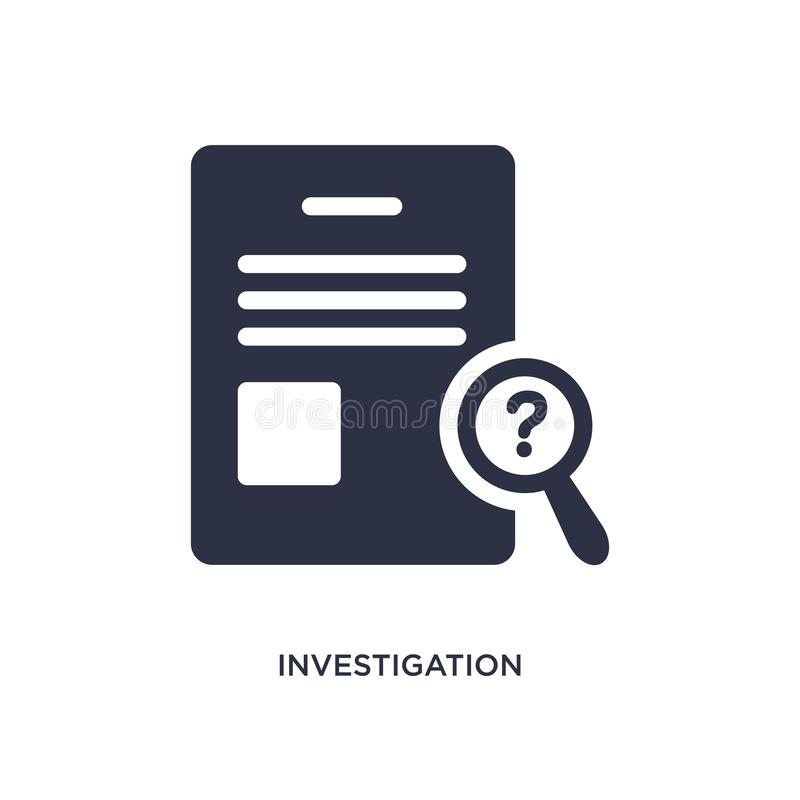 investigation icon on white background. Simple element illustration from law and justice concept vector illustration
