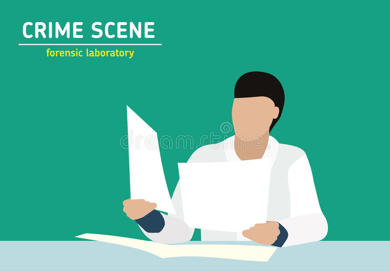 Investigation. Laboratory studies evidence. Forensic procedure. Murder investigation. Officer examines the documents the evidence. Flat style illustration vector illustration