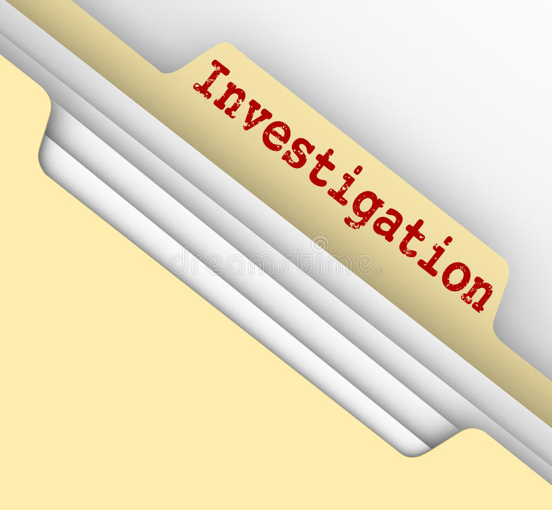 Investigation Manila Folder Research Findings Paper File Documents. Investigation word typed on a manila file folder tab to store your findings, facts and stock illustration