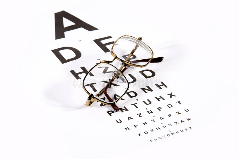 Investigation of myopy. Glasses on Snellen chart stock photos