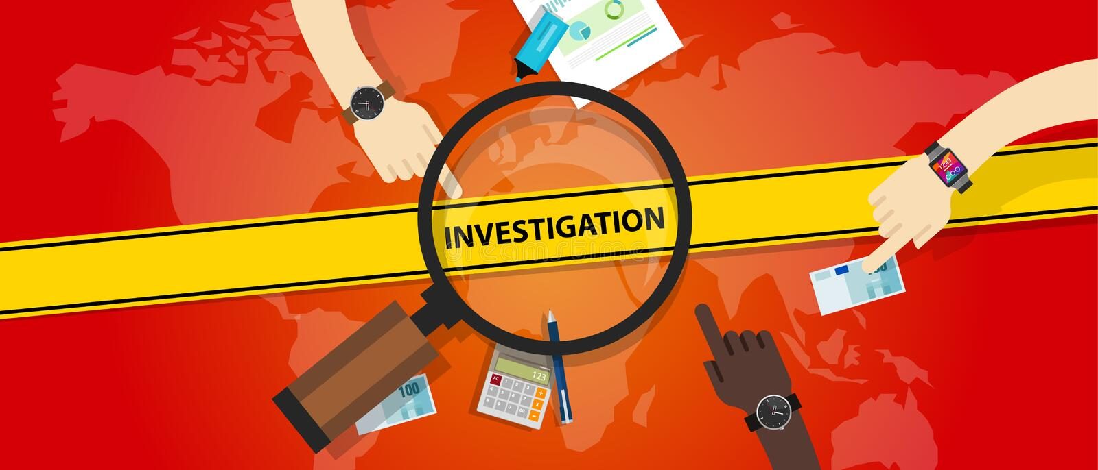 Investigation police yellow line business internet crime royalty free illustration