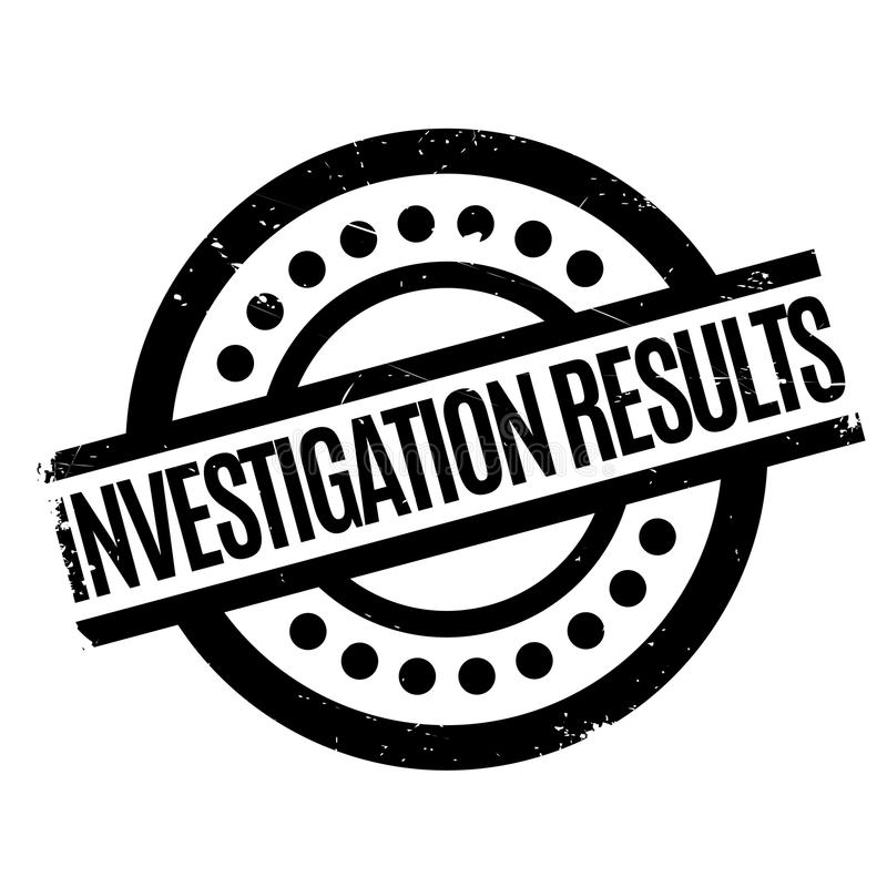 Investigation Results rubber stamp. Grunge design with dust scratches. Effects can be easily removed for a clean, crisp look. Color is easily changed royalty free illustration