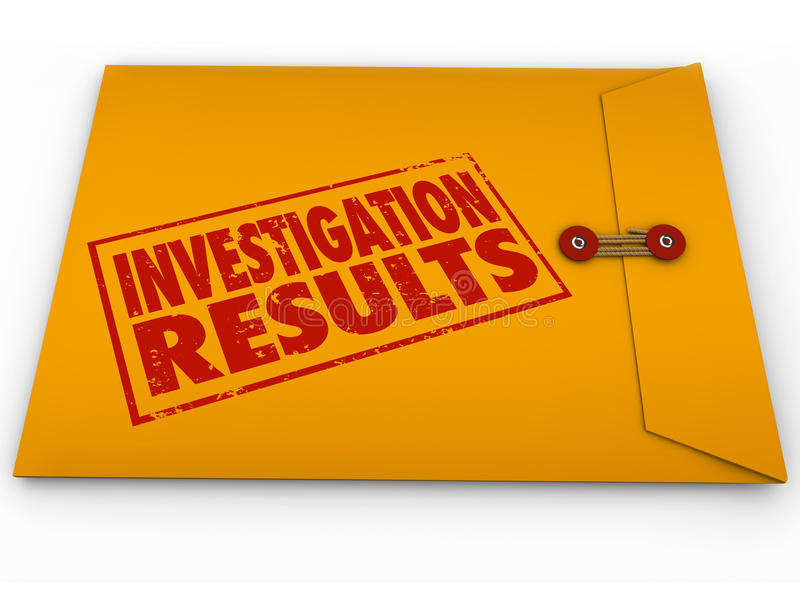 Investigation Results Yellow Envelope Research Findings Report. Investigation Results words stamped on a yellow envelope containing the report from research and stock illustration