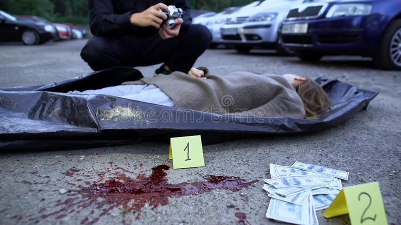 Investigation of woman murder and robbery, cash and blood stain evidence, police. Investigation of women murder and robbery, cash and blood stain evidence royalty free stock photography
