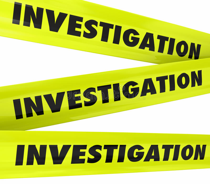 Investigation Word Yellow Crime Scene Police Tape. Investigation word on yellow police crime scene tape to secure an area where detective work is taking place vector illustration