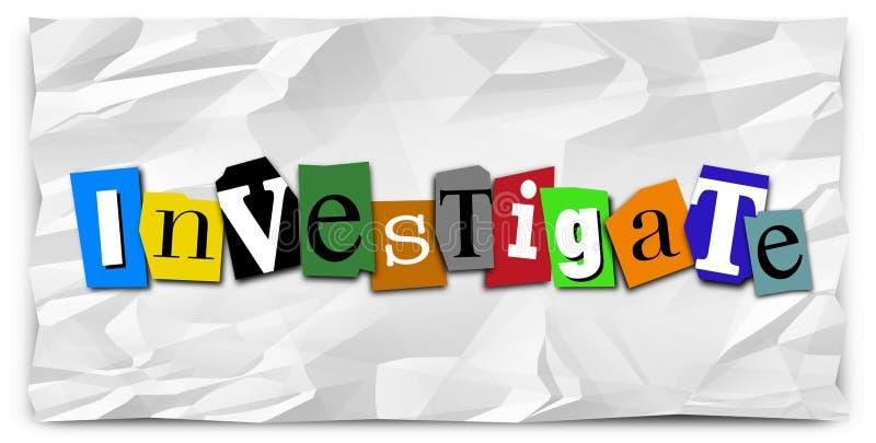 Investigue al detective de policía de la nota de rescate de la palabra Investigation ilustración del vector